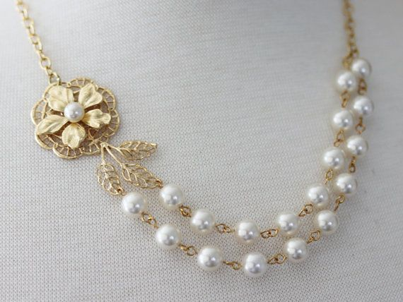 Gold Wedding Necklace  Gold Wedding Jewelry Pearl by madebymoe, $48.00