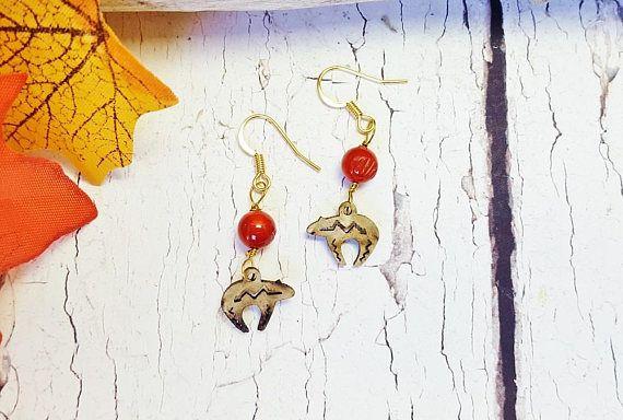 Real Coral Jewelry  Zuni Fetish Jewelry  Dainty Boho