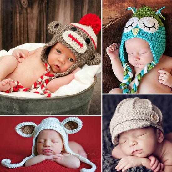 Absolutely Adorable! 10 Handmade Unisex Baby Hats from @Lillie Boles Sock monkey!!