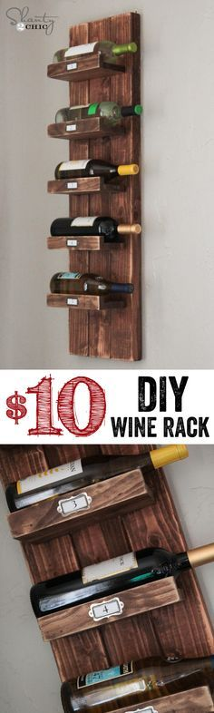 """DIY Wine Rack… LOVE this!  So cheap too!  <a href=""""http://www.shanty-2-chic.com"""" rel=""""nofollow"""" target=""""_blank"""">www.shanty-2-chic...</a>"""