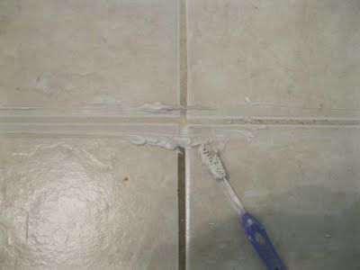 Miracle grout cleaner: 1/4 c bleach + 3/4 c. baking soda