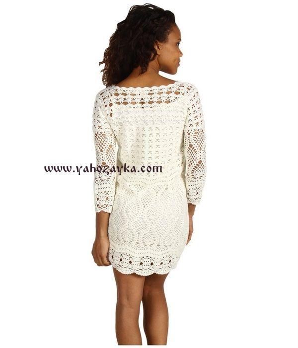 Белоснежное платье крючком. Воздушное платье вязаное для женщин
