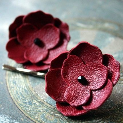 leather flowers....
