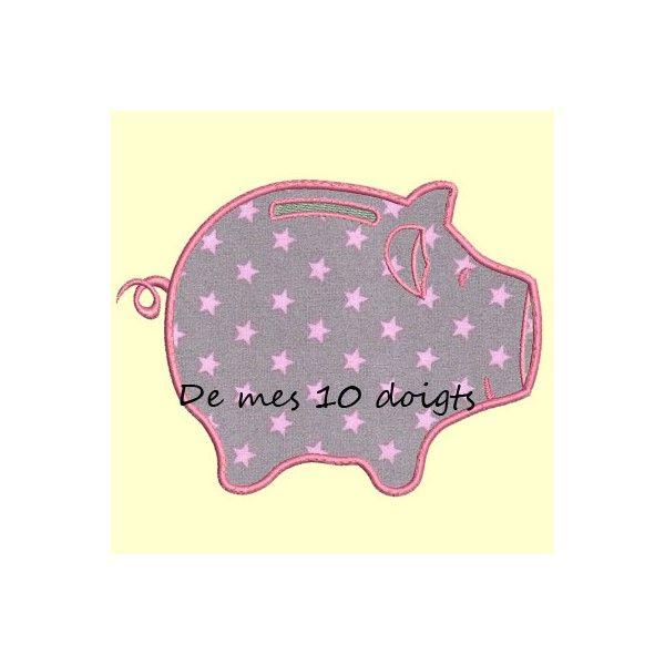 petit cochon tire lire en appliqué - embroidery design