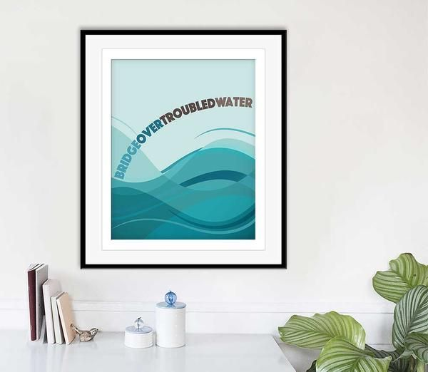 BRIDGE OVER TROUBLED WATER, BY SIMON AND GARFUNKEL. Original custom designed artwork of treasured hit songs from your favorite artist & music era. Playfully colorful illustrations create a special and