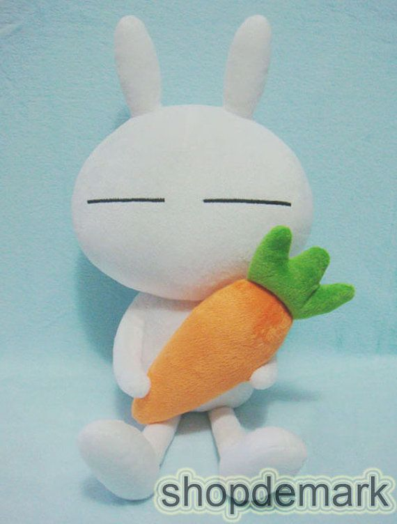 Soft Tuzki Rabbit Bunny with Carrot Plush Doll Toy by shopdemark