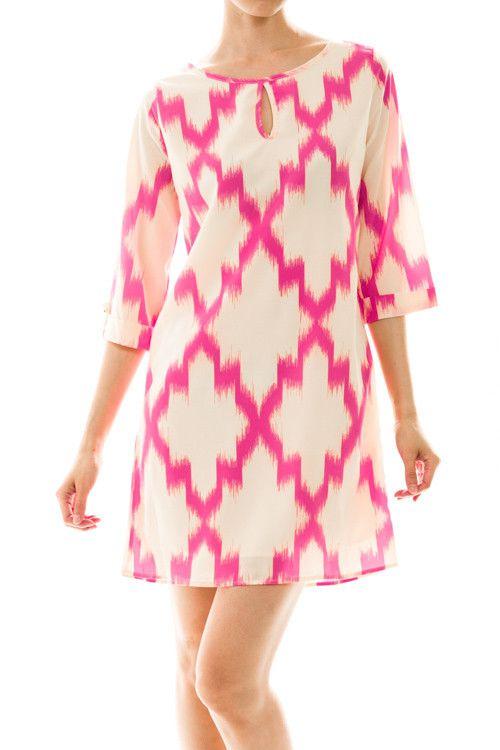 Emma Pink Ikat Shift Dress