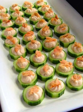 Smoked salmon mouse on cucumber