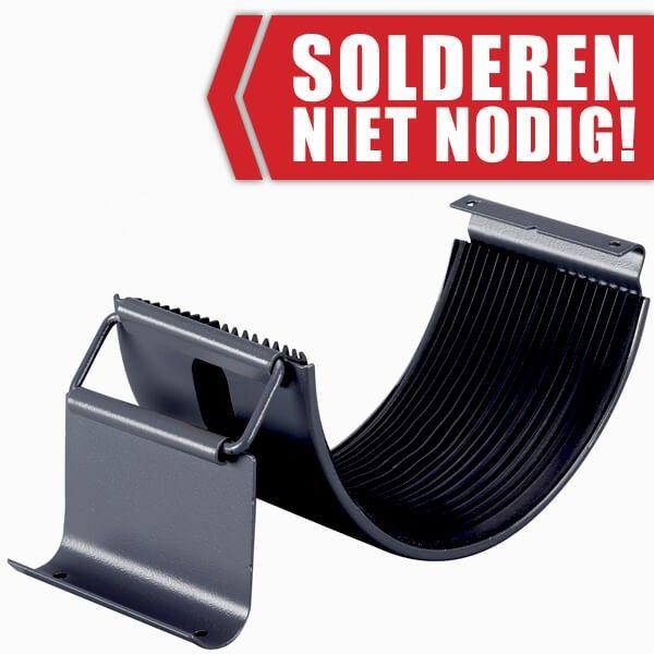 Een zinken 'klem' gootverbinder verbind twee dakgoot delen met elkaar. Solderen is niet nodig!