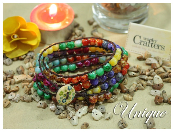 Unique 5 tiers wrapped bracelets Fabulous Spring by WackyCrafters, $12.50