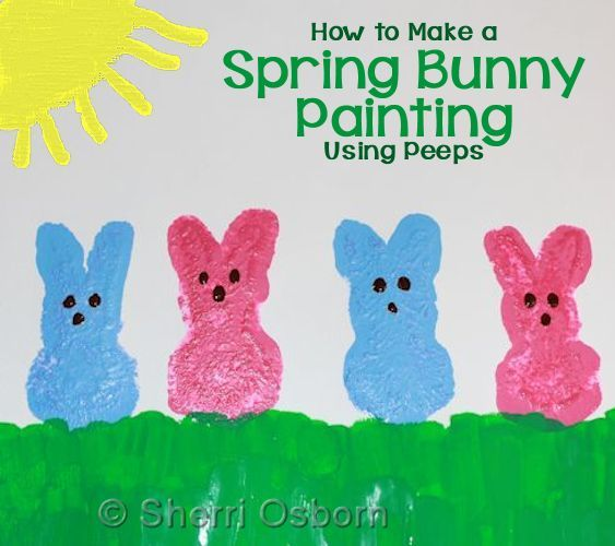 Spring Bunny Picture - Discover how to make colorful bunny prints using Peeps candy. (http://aboutfamilycrafts.com/spring-bunny-painting/)