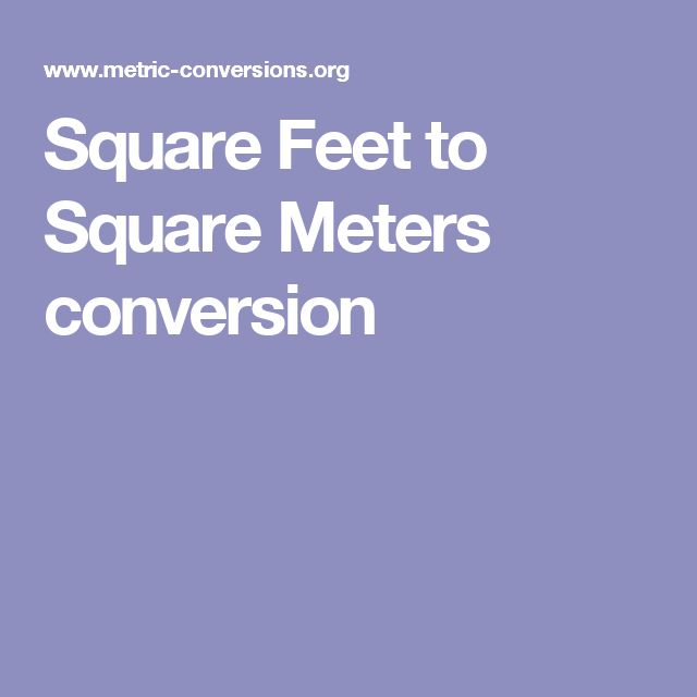 Square Feet to Square Meters conversion