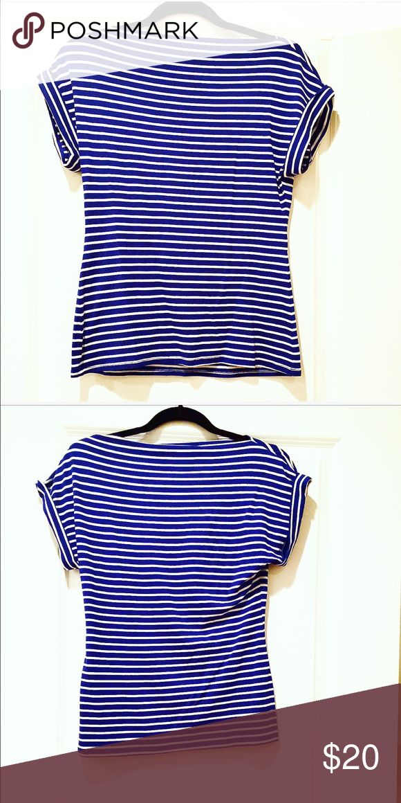 Trina Turk Rolled up sleeve top. Small Petite. Love this rilled up short sleeve top by Trina Turk!  The cobalt blue stripe almost gives it a nautical feel!  Looks best paired with white jeans and is perfect for the Spring/Summer!!  Size Petite small! Trina Turk Tops Tees - Short Sleeve