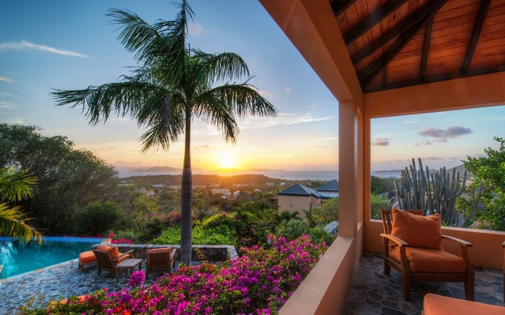 British Virgin Islands, Virgin Gorda, Британские Виргинские острова, Верджин-Горда, закат, пальма, бассейн, терраса, цветы, кактус, кресло, пейзаж