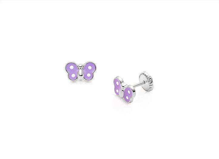 14kw white gold butterfly earrings for girl's and children, purple enamel coloring.
