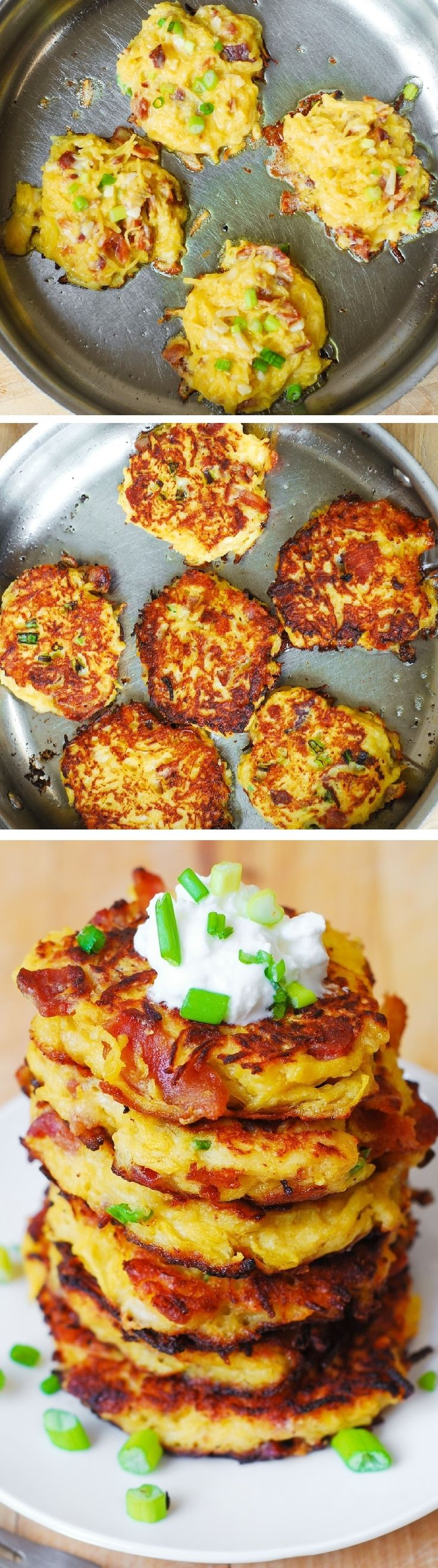 "Kids breakfast ideas: healthy foods for breakfast  Bacon, Spaghetti Squash, and Parmesan Fritters  "" So unbelievably good! Kids love these - what a great way to incorporate veggies! Serve with a dollop of Greek yogurt. #snacks #appetizers #breakfast""  ""2 eggs 1/3 cup flour (for gluten free version, use multi-purpose gluten-free King Arthur flour) 3 cups spaghetti squash, cooked and wringed out (see instructions below) 1/2 cup Parmesan cheese, freshly grated 1/4 + 1/8 teaspoons salt 3 green onions, chopped 5 bacon strips, cooked, drained of fat, and chopped 2 tablespoons olive oil For garnish: 2 green onions, chopped dollop of Greek Yogurt"""