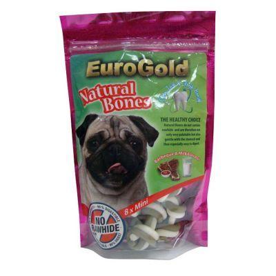 Eurogold Natural Bones Barbekü sosu ve süt aromalı doğal kemiklerdir.Tamamen sindirilebilir olan bu kemikler köpeğinizin sindirimine yardımcı olurken, diş taşı ve ağız kokusunu da engeller.