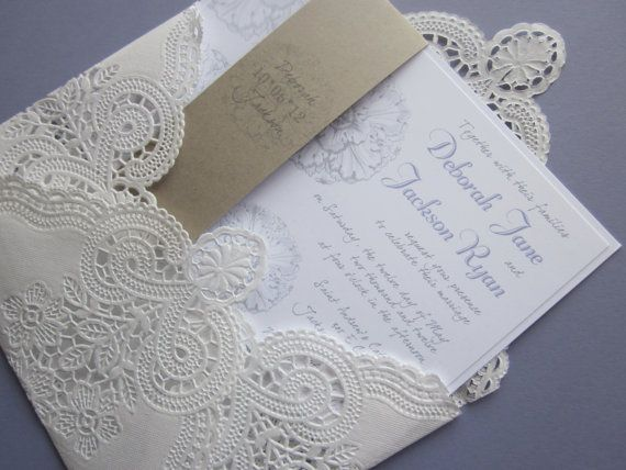 vintage wedding invitation  Lace doily and rustic by anistadesigns, $7.00