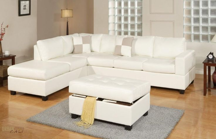 Sacramento White Cream Leather Sectional Sofa with Left Facing Chaise at GoWFB.ca | Free Shipping - Sacramento Cream Leather Sectional Sofa with Left Facing Chaise by Urban Cali