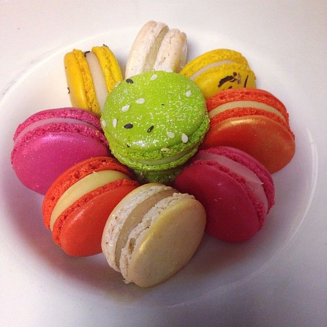 Colorful macaroons at Restaurant Le Cinq, Paris.