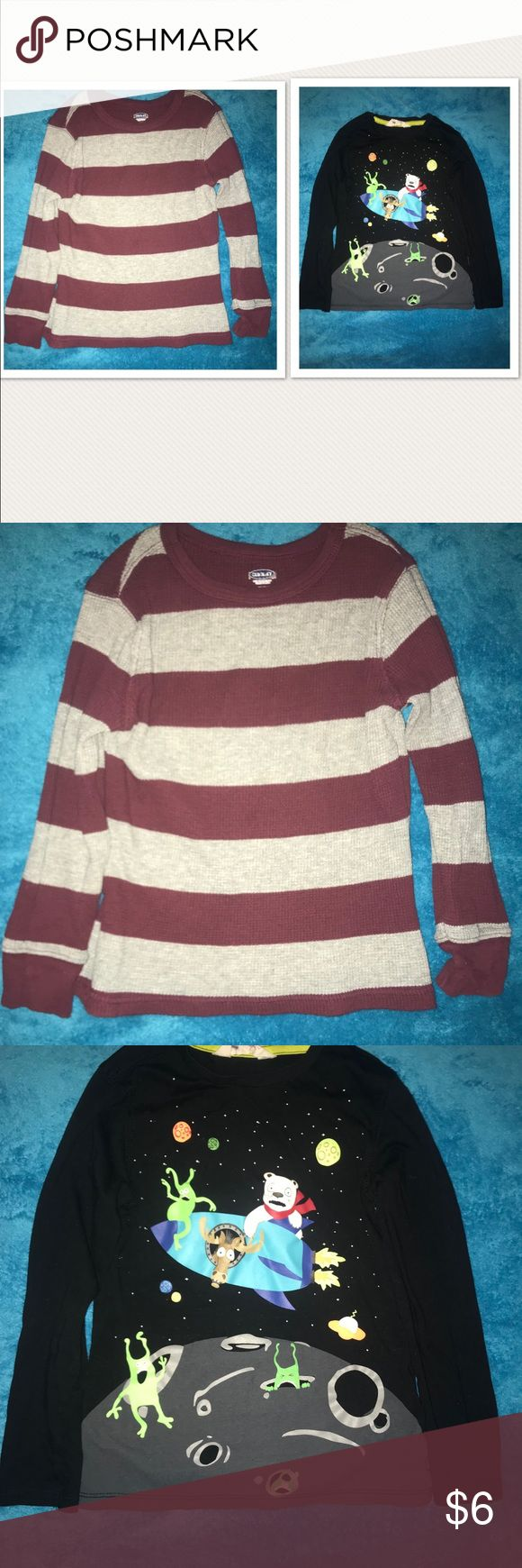 2 Long Sleeve Shirts Two Long Sleeves Shirts  Black & Grey Shirt - H&M - US Size 4-6 yrs old - worn once Grey & Burgundy (Thermo type) Shirt - Old Navy - 5T - worn a couple of times - in good condition Shirts & Tops Tees - Long Sleeve