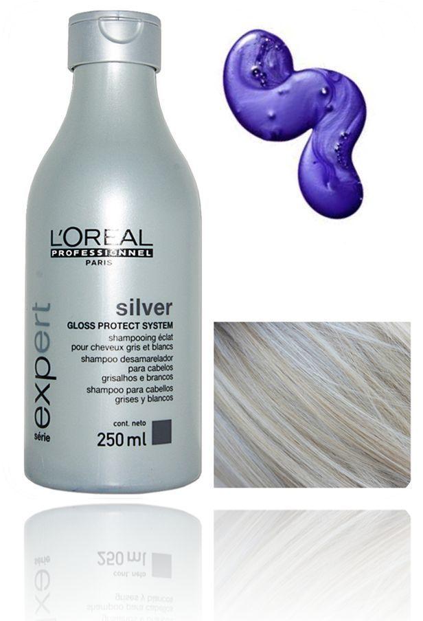 LOreal Silver Clarifying Shine Shampoo (purple) Reduces Yellow Tones Blonde Hair #LOREAL Más
