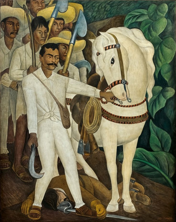 Diego Rivera. Agrarian Leader Zapata mural, 1931  Emiliano Zapata, a champion of agrarian reform and a key protagonist in the Mexican Revolution, here leads a band of peasant rebels armed with makeshift weapons, including farming tools.
