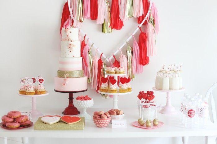 Pink, Red & Gold Valentine's Day Dessert Table