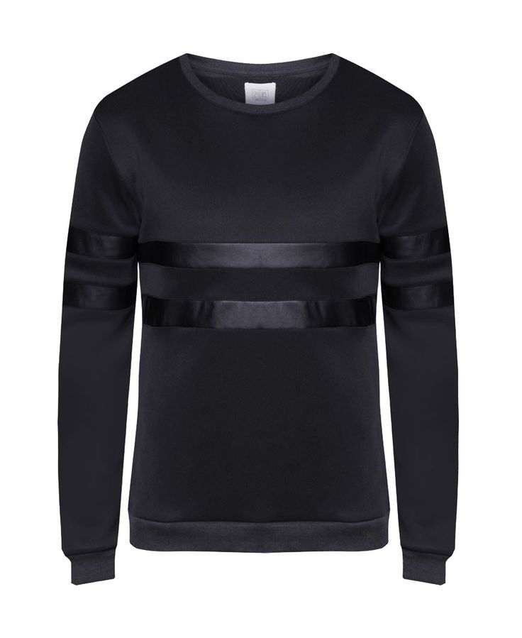 Black W-Scuba Sweatshirt With PU Insert, collection by 24:01. Black sweatshirt with a combination of black synthetic leather. This black scuba sweatshirt made from polyester material, long sleeve, ribbed cuffs, unlined. Stylish sweatshirt for everyday use. Shop safely here: