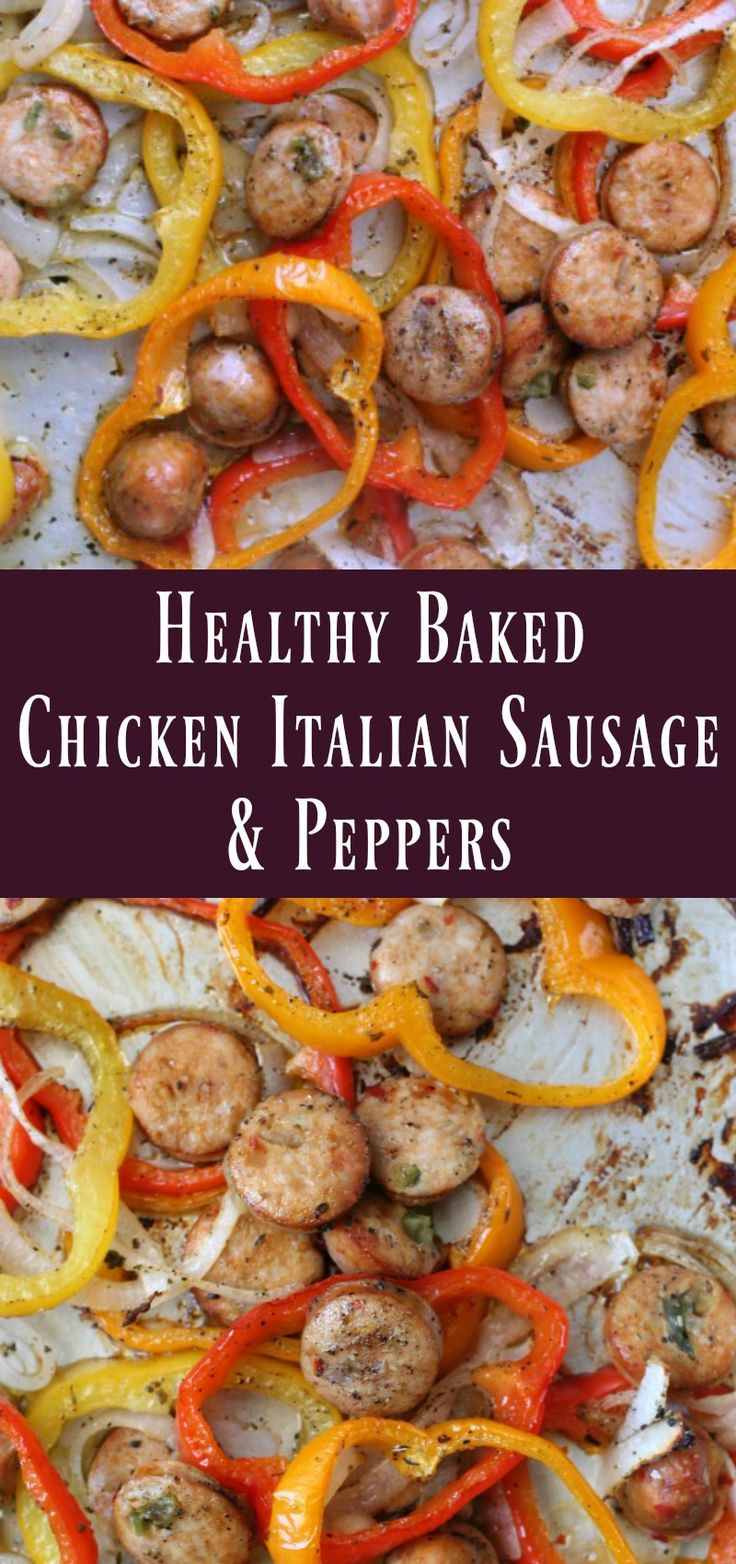Lean Italian chicken sausage baked on a sheet pan with peppers and onions to create a fast healthy weeknight low-carb sheet pan dinner recipe.