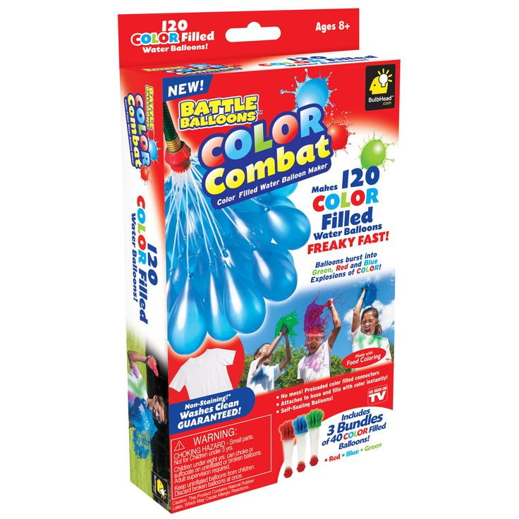 This Color Burst Balloon Bonanza Water Balloon Maker from As Seen on TV is certain to be a hit at your child's next party or get-together. 120 color filled balloons in vivid shades of red, blue and green attach to your hose, offering mess-free results quickly and easily. And since the color is guaranteed to wash out of clothing, this balloon maker offers peace of mind along with hours of fun.