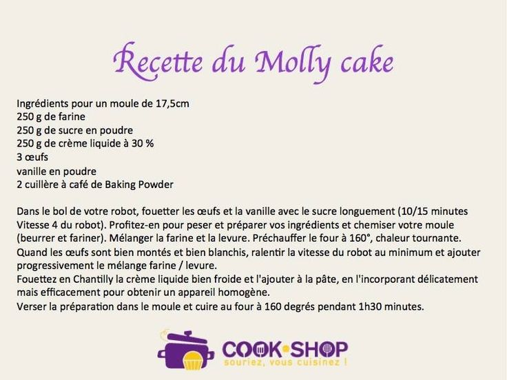 Recette Molly Cake  Cm