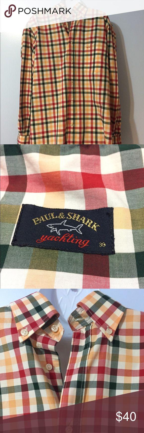 "Paul & Shark Plaid L/S Shirt Euro Sz 39, US Med Paul & Shark Yachting orange plaid long sleeve shirt, button down collar, euro size 39, US size medium, chest 23"", length 31"" Paul & Shark Shirts Casual Button Down Shirts"