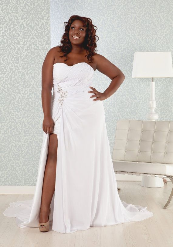 Plus Size Wedding Dress chiffon, sweetheart neckline, corset back with sexy high slit via Etsy  the whole shop is plus size