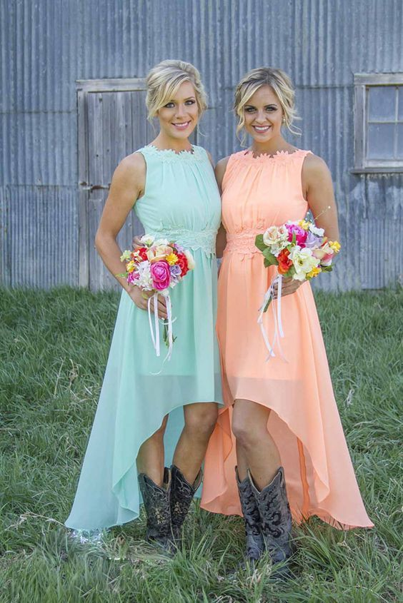hi lo bridesmaid dresses and cowboy boots / http://www.deerpearlflowers.com/cowgirl-boots-fall-wedding-ideas/