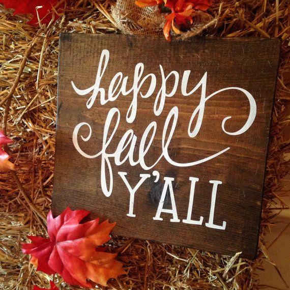 Happy Fall Y'All Wood Sign Gold Fall Decor by CreateDesignLive