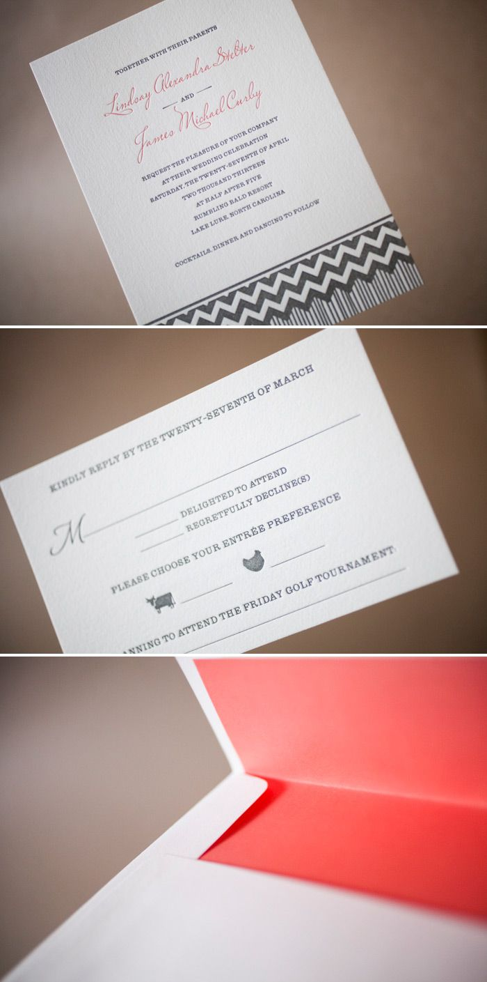 bed bath and beyond wedding invitation kits%0A Letterpress wedding invitations with chevron accents