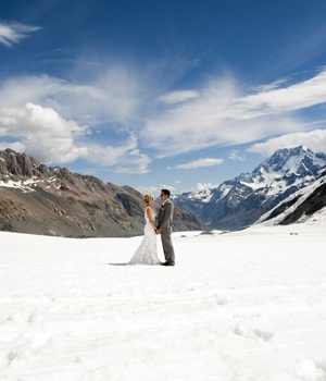 "wedding on Isobel Glacier. -  Straddling the southern end of the Southern Alps, Mt Aspiring National Park is home to New Zealand's highest mountain outside the Aoraki/Mt Cook region and its Maori name Tititea means ""Glistening Peak"". The park is a dreamland of mountains, glaciers, rivers and alpine lakes."
