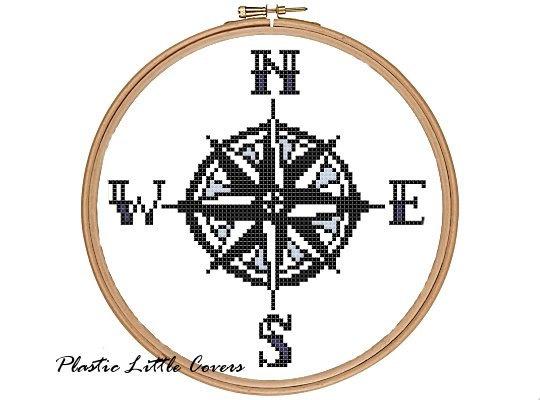 Compass Rose Cross Stitch Pattern by plasticlittlecovers on Etsy, £1.50