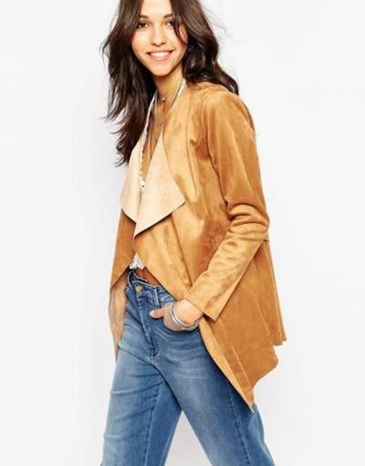 boohoo suedette waterfall jacket  tan #jacket #suede #leather #leatherjacket #covetme