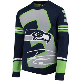 9af115ce1eb Men s Seattle Seahawks Russell Wilson Klew College Navy Loud Player Crew  Neck Sweater