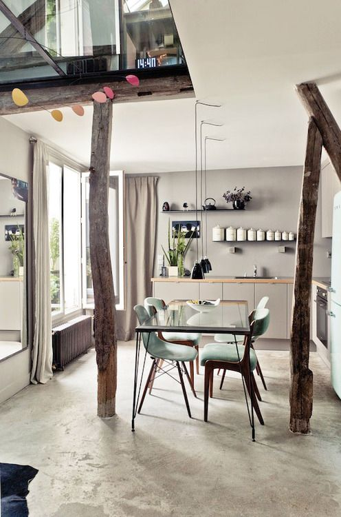 Kitchens, Paris, Dining Room, Modern Bathroom Design, Chairs, Interiors Design, Diningroom, Wood Beams, Design Bathroom
