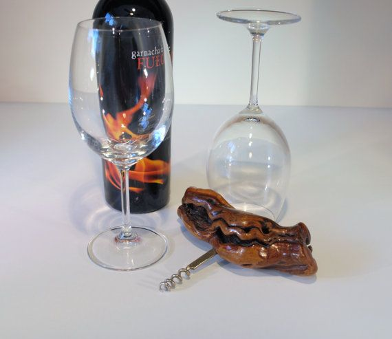 Vintage Large Burl Wood Handle Corkscrew Wine by RetroEnvy21
