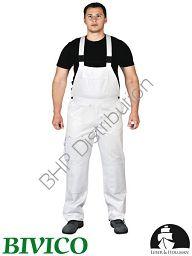 Białe spodnie ochronne ogrodniczki LH-BISTER