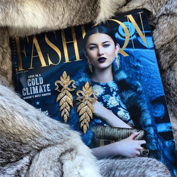 Our opulent Yves Saint Laurent Bow Earrings on the cover of Fashion Quarterly. SOLD