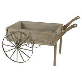 "Display an array of bright blooms in this charming wheelbarrow or set it in the living room to stow throws and pillows in rustic style. Crafted of wood and showcasing a weathered finish, this lovely design adds a pastoral touch to any decor.   Product: WheelbarrowConstruction Material: Wood and ironColor: Black and brownFeatures:Weathered finishDimensions: 57.9"" H x 30.3"" W x 33.1"" D"