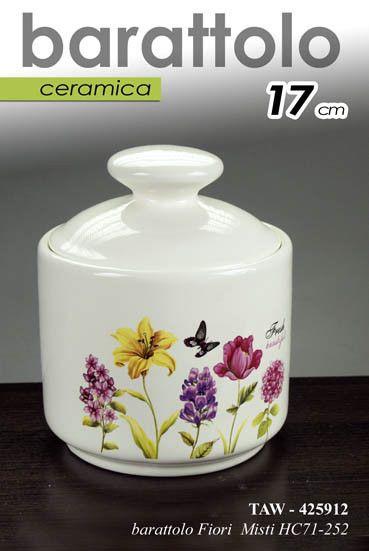 Barattolo h17 cm cucina ceramica contenitore barattolino fiori color ...