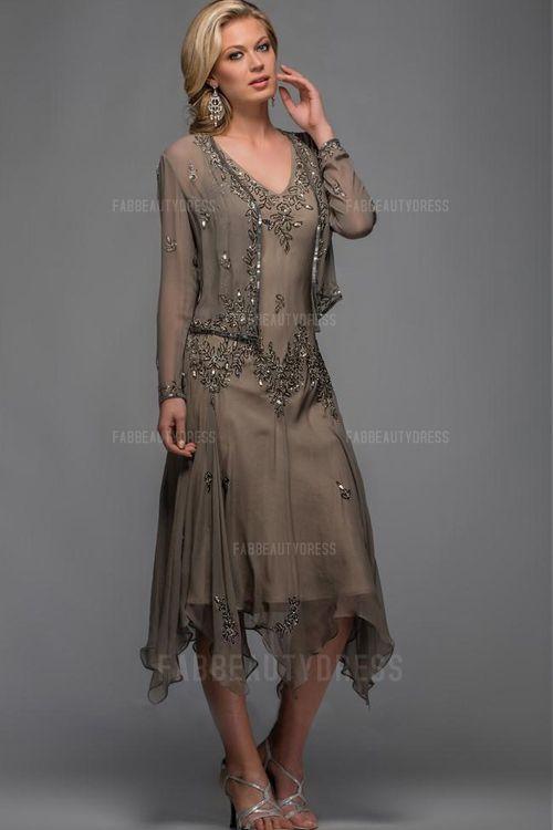 Sheath/Column V-neck Tea-length Asymmetrical Chiffon Mother Of The Bride Dress
