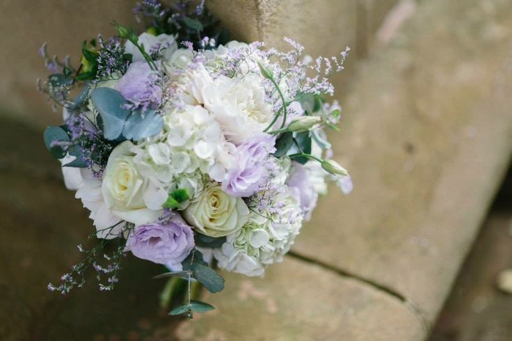 Mauve and white wedding bride bouquet - hydrangea, lisianthus, roses www.amityblooms.com