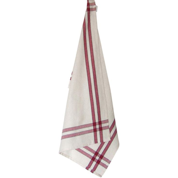 "Cream Tea Towel 20""X28""-Cranberry Stripe"